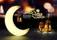 Ramadan kareem lanterns, 3d rendering. Ramadan Kareem beautiful greeting card with arabic calligraphy which means ``Ramadan kareem ``-traditional lantern of Stock Images
