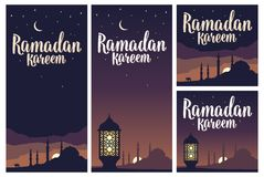 Ramadan kareem lettering with lamp, minarets, crescent, star in sky. royalty free illustration