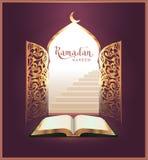 Ramadan Kareem lettering text and open book, door Stock Image