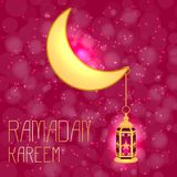 Ramadan Kareem Luna e lanterna Fotografia Stock Libera da Diritti