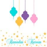 Ramadan Kareem lykta i en plan stil vektor illustrationer