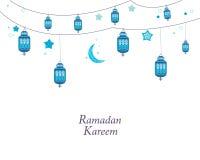 Ramadan Kareem med blåa lampor, halvmånformig och stjärnor Traditionell svart lykta av Ramadanbakgrund royaltyfri illustrationer