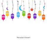 Ramadan Kareem med färgrika lampor, halvmånformig och stjärnor royaltyfri illustrationer