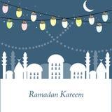 Ramadan Kareem med lampor, halvmånformig och stjärnor Traditionell lykta av Ramadan stock illustrationer