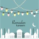 Ramadan Kareem med lampor, halvmånformig och stjärnor Traditionell lykta av Ramadanvektorn royaltyfri illustrationer