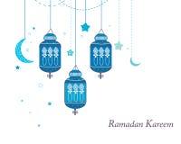 Ramadan Kareem med lampor, halvmånformig och stjärnor Traditionell lykta av Ramadanvektorn stock illustrationer