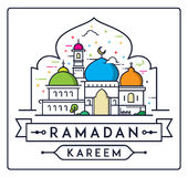 Ramadan Kareem met eenvoudige Moskee royalty-vrije illustratie