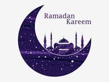 Ramadan Kareem Mezquita y un creciente Estrellas y luna Luces musulmanes del día de fiesta Cartel hermoso, bandera Vector libre illustration
