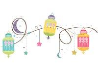 Ramadan Kareem mit bunten Lampen, Halbmonden und Sternen Traditionelle Laterne des Ramadan-Vektorhintergrundes lizenzfreie abbildung