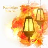 Ramadan Kareem. The month of Ramadan. Orange watercolor backgrou Stock Photos