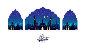 Ramadan Kareem Mooie groetkaart Scène met Moskee of Masjid vector illustratie