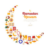 Ramadan Kareem moon with flat arabic icons Stock Photos