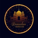 Ramadan kareem moskee met fonkelingskader stock illustratie