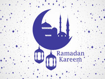 Ramadan Kareem. Mosque and a crescent. Lantern, stars and moon. Muslim holiday lights. Vector Stock Photos