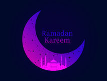 Ramadan Kareem. Mosque and a crescent. Stars and moon. Muslim holiday lights. Beautiful poster, banner. Vector Royalty Free Stock Photos