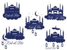 Ramadan Kareem, mosque, minaret, lantern and moon. Eid al fitr Muslim traditional holiday. Eid Mubarak. Royalty Free Stock Photography