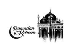 Ramadan Kareem Mosque ou Masjid com o letteri à moda da caligrafia ilustração do vetor