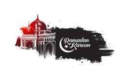 Ramadan Kareem Mosque ou Masjid com o letteri à moda da caligrafia ilustração stock