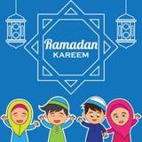Ramadan kareem/Mubarak, gelukkig ramadan groetontwerp voor de heilige maand van Moslims, vectorillustratie Stock Illustratie