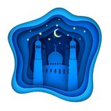 Vector paper cut ramadan kareem decoration mosque stock illustration