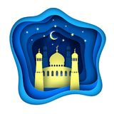 Vector paper cut ramadan kareem decoration mosque royalty free illustration