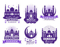 Ramadan Kareem muslim religion festival symbol set. Mosque minaret violet silhouette, decorated by Ramadan lantern, crescent moon, star and ribbon banner with Royalty Free Stock Photo