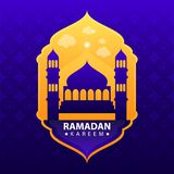 Ramadan kareem na błękitnym abstrakcjonistycznym tle ilustracja wektor