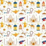 Ramadan kareem naadloos patroon met de Arabische kameel van ontwerpelementen, quran, lantaarns, rozentuin, voedsel, moskee Vector vector illustratie