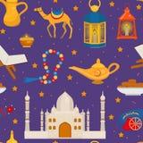 Ramadan kareem naadloos patroon met de Arabische kameel van ontwerpelementen, quran, lantaarns, rozentuin, voedsel, moskee Vector stock illustratie