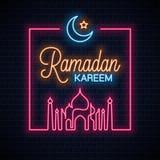 Ramadan kareem neon sign. Ramadan eid neon. Banner on wall background 10 eps stock illustration