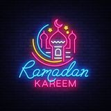 Ramadan Kareem neon sign vector, leaflet design template concept of lines with colored crescent and mosque, Islamic Royalty Free Stock Image