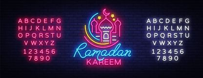 Ramadan Kareem neon sign vector, leaflet design template concept of lines with colored crescent and mosque, Islamic Stock Photo