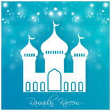 Ramadan Kareem. Nice and beautiful  abstract for Ramadan Kareem with nice and creative white colour mosque illustration in a sparkling textured blue background Royalty Free Stock Photography
