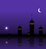 Ramadan Kareem Night Background with Silhouette Mosque and Minarets Stock Images