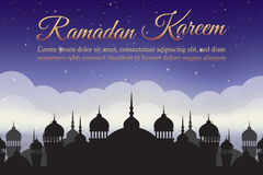 Ramadan Kareem. Night sky with mosque silhouette and clouds. Arabic background Stock Photos