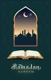 Ramadan kareem open book koran and moon. Template greeting card vector illustration Royalty Free Stock Photo