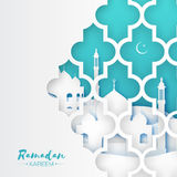Ramadan Kareem. Origami Mosque Window. Holy month. Blue Mosque Window. Origami Ramadan Kareem Greeting card with arabic arabesque pattern. Holy month of muslim Royalty Free Stock Photos