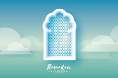 Ramadan Kareem. Origami Mosque Window. Holy month. Paper cut Cloud. Space for text. Blue Mosque Window . Origami Ramadan Kareem Greeting card. Arabic arabesque Stock Images