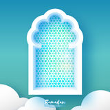 Ramadan Kareem. Origami Mosque Window. Holy month. Paper cut Cloud. Space for text. Blue Mosque Window .Origami Ramadan Kareem Greeting card. Arabic arabesque Stock Images