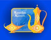 Ramadan Kareem Islamic Dishware Decorative Pitcher. Ramadan Kareem poster with islamic dishware decorative pitcher in vintage style, arabic genie lamp or coffee royalty free illustration
