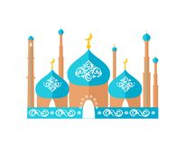 Mosque with Moon Decoration Vector Illustration stock illustration