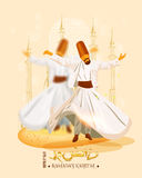 Ramadan Kareem poster. Whirling dervishes performing religious dance on mosque silhouetted background for holy month of prayers Ramadan Kareem celebrations stock image