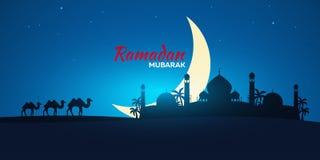 Ramadan Kareem. Ramadan Mubarak. Greeting card. Arabian night with Crescent moon and camel. Ramadan Kareem. Ramadan Mubarak. Greeting card. Arabian night with royalty free illustration