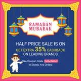 Ramadan Kareem Sale Poster o insegna Immagini Stock