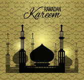 Ramadan Kareem shiny background with mosque silhouette. Greeting card for holy month Ramadan. Ramadan background  Stock Photo
