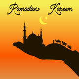 Ramadan Kareem. Silhouette of mosque and camelcade on hand royalty free illustration