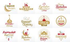 Ramadan Kareem Sistema tipográfico del diseño del vector