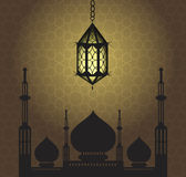 Ramadan Kareem tło z meczetową sylwetką Kartka z pozdrowieniami dla świętego miesiąca Ramadan również zwrócić corel ilustracji we Obraz Stock