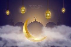 Ramadan kareem tło z złotą półksiężyc w chmurach, latarniowym Fanus i meczecie, Muzu?ma?ska uczta ?wi?ty miesi?c ilustracji