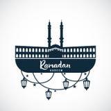 ramadan kareem Tecken av moskén med hängande lampor vektor illustrationer